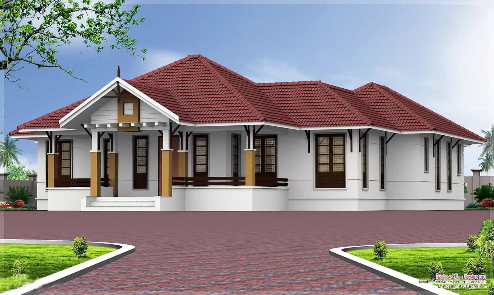 Small House Plans In Kerala - 3 Bedroom - Keralahouseplanner throughout Small One Level Farmhouse Plans