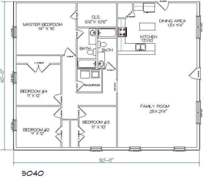 4 Bedrooms Barndominium Floor Plan For 2000Sq.ft. Living with Barndominium Pictures And Floor Plans
