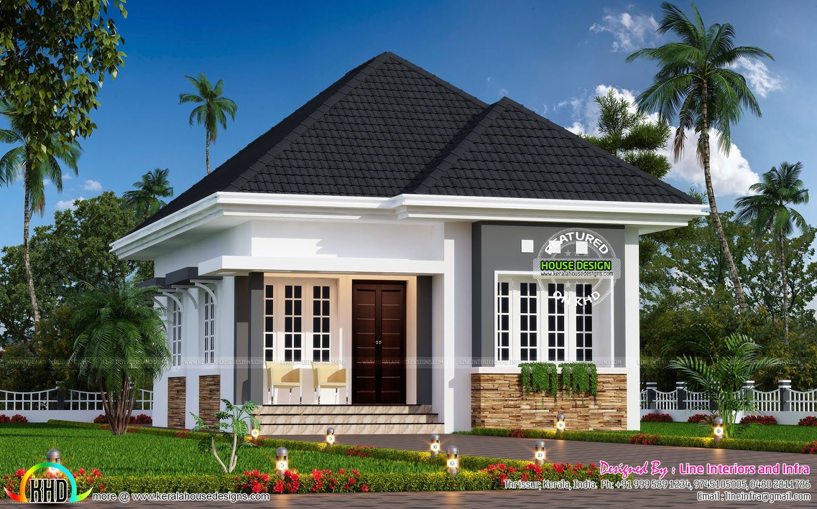 Cute Little Small House Plan - Kerala Home Design And in Small One Level Farmhouse Plans