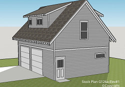 G126A – 1 1/2 Story, Two Car Garage With Apartment pertaining to 1 Car Garage Apartment Plans