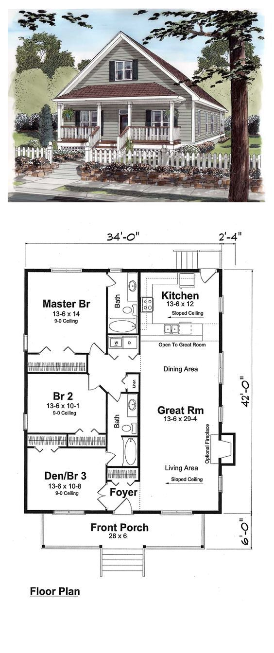 25 Impressive Small House Plans For Affordable Home inside Small One Level Farmhouse Plans