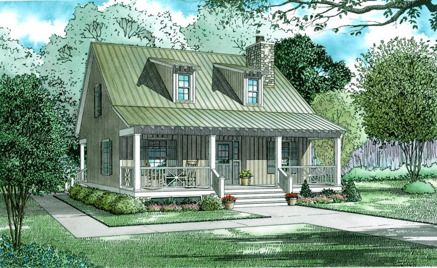 Rustic Low Country Cottage: 2 Bedrms, 2 Baths - 1400 Sq Ft for Small Farmhouse Plans With Pictures