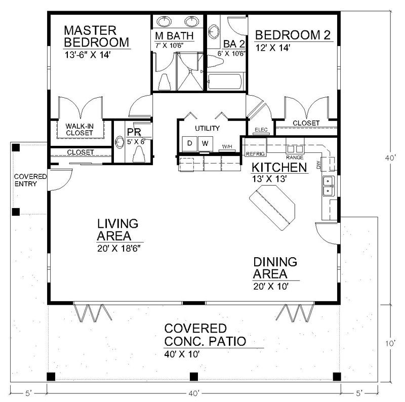 Clearview 1600 S | House Plans with Small One Level Farmhouse Plans