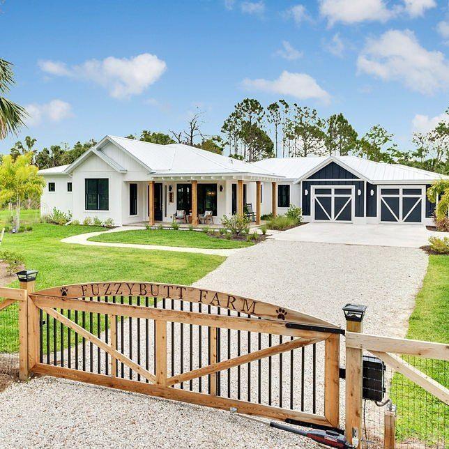 One-Story White Modern Farmhouse Exterior. Wraparound regarding White Modern Farmhouse Plans Single Story
