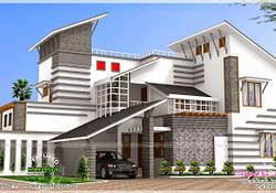 Contemporary Style Unique House - Kerala Home Design And regarding Custom Modern Farmhouse Plans