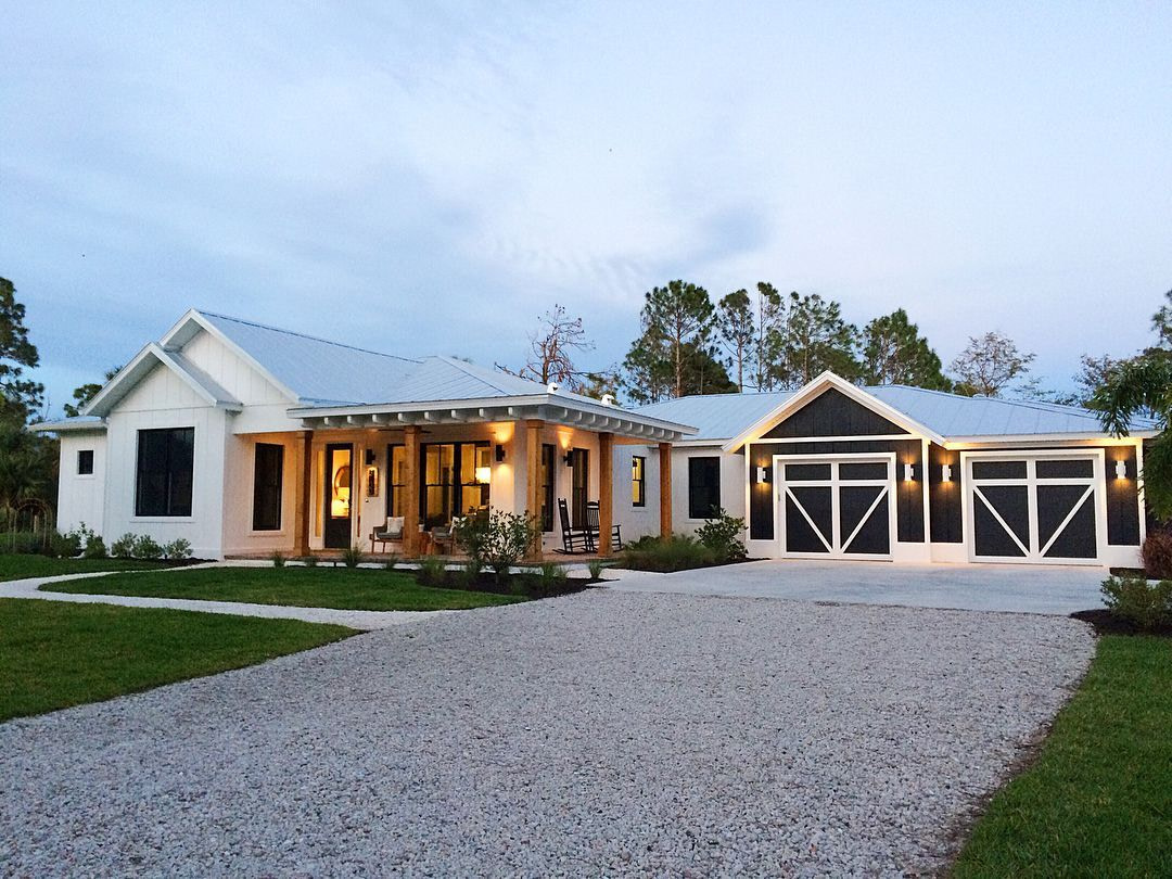 One-Story Modern Farmhouse In Naples, Florida. White in White Modern Farmhouse Plans Single Story