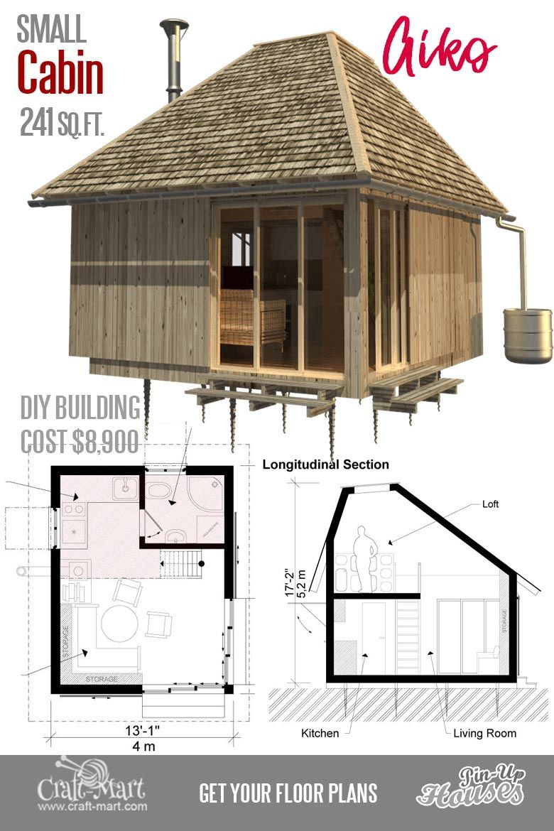 Cute Small Cabin Plans (A-Frame Tiny House Plans, Cottages pertaining to Small One Level Farmhouse Plans