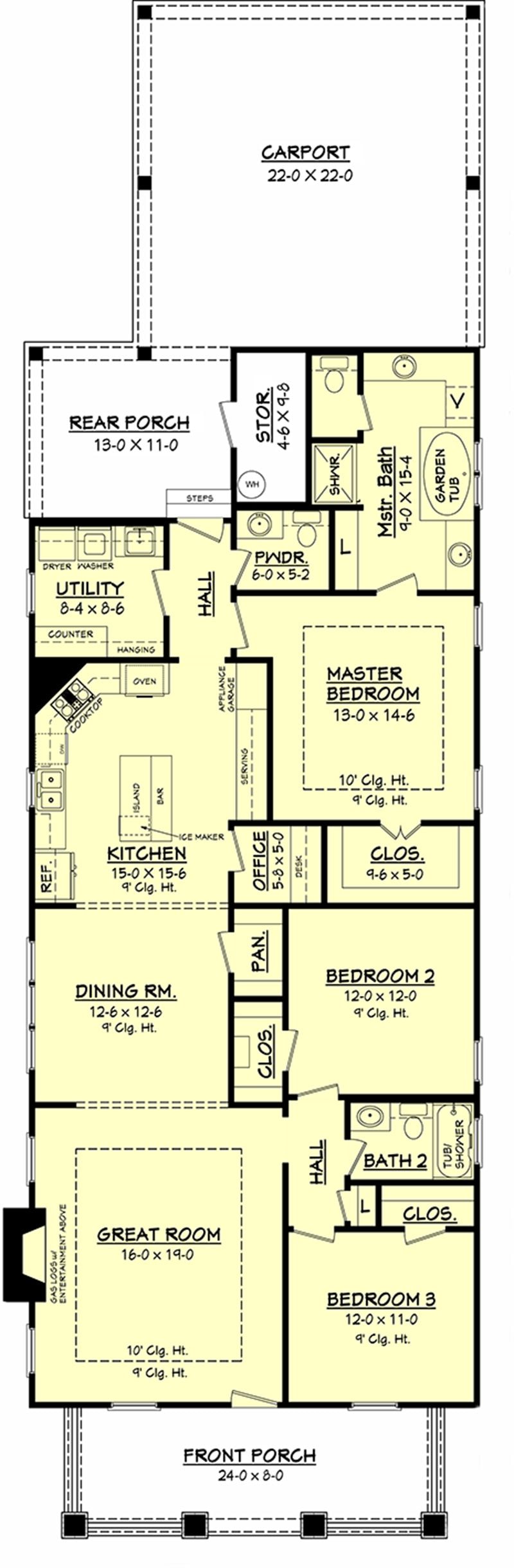 Cottage House Plan - 3 Bedrms, 2.5 Baths - 1800 Sq Ft for Small One Level Farmhouse Plans