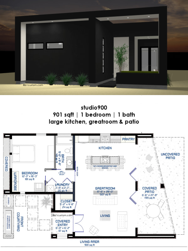 Studio900: Small Modern House Plan With Courtyard | 61Custom within Small One Level Farmhouse Plans