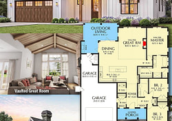Plan 69715Am: 3-Bed New American House Plan With Vaulted throughout Modern Farmhouse Plans With Vaulted Great Room