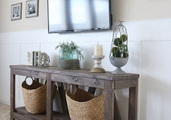 Diy Diagonal Base Farmhouse Console Table - Shanty 2 Chic throughout Modern Farmhouse Table Plans