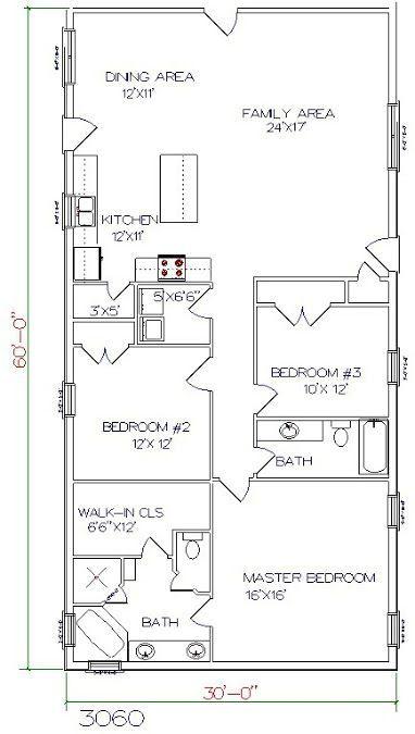 Barndominium Floor Plan 3 Bedroom 2 Bathroom 30X60 throughout Barndominium Pictures And Floor Plans