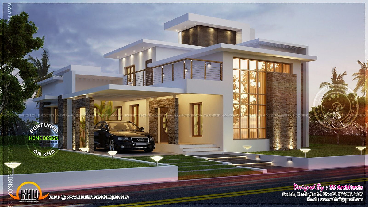 Awesome 3000 Sq.feet Contemporary House   Home Kerala Plans throughout Modern Farmhouse Plans 1600 Sq Ft
