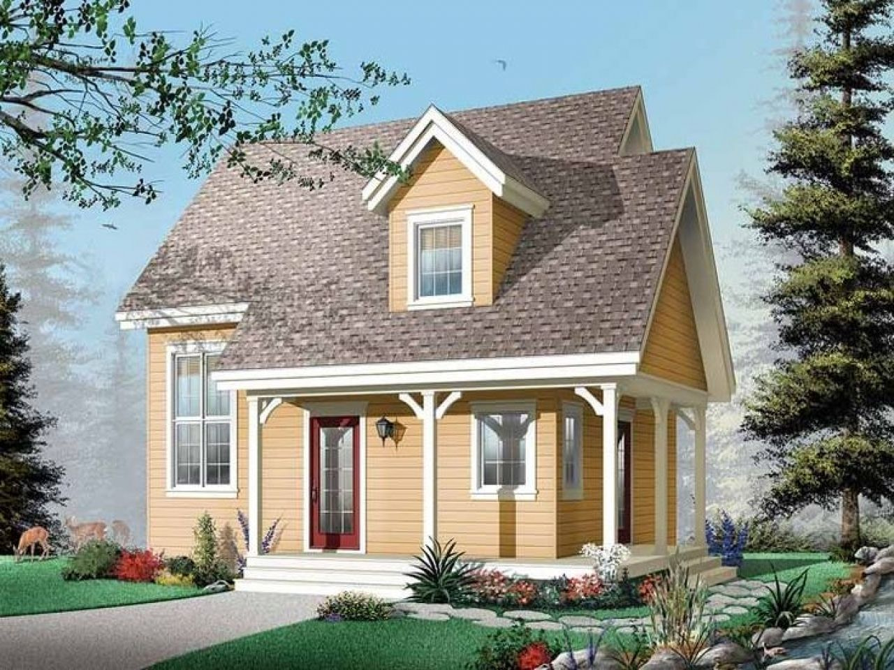 Southern Cottage Single Story House Plans Small Country with Small One Level Farmhouse Plans