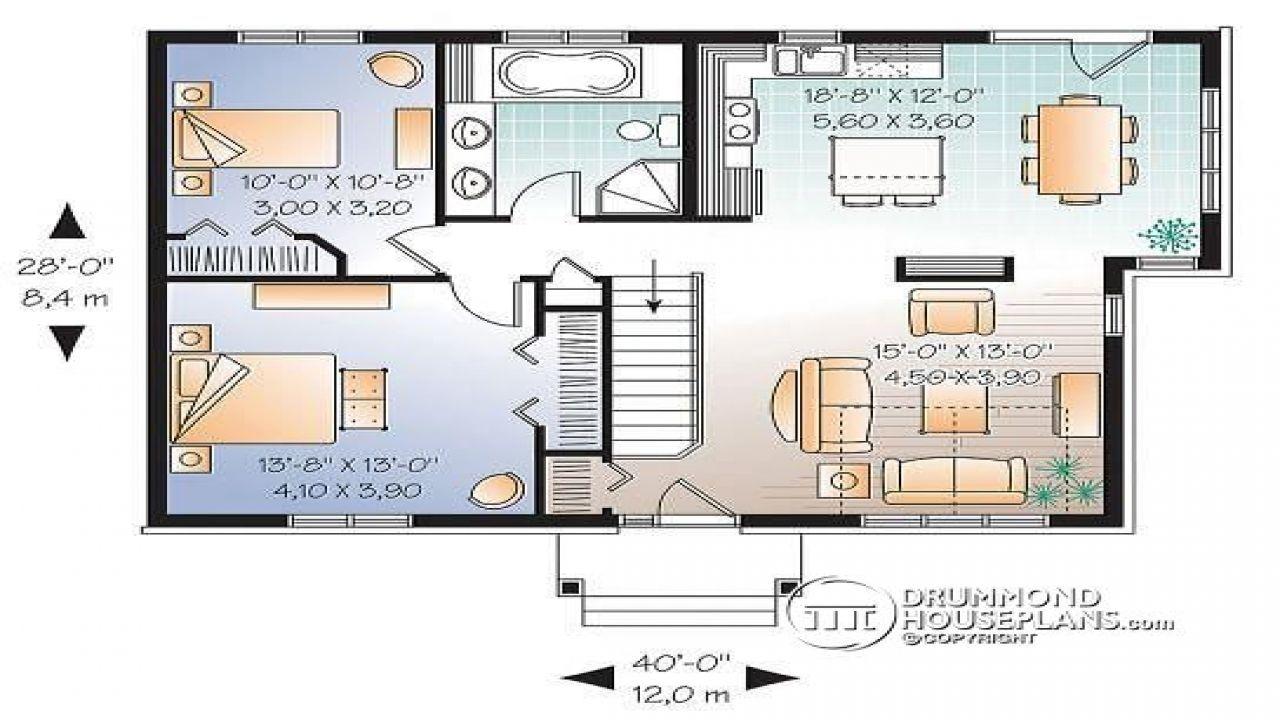 2 Bedroom Single Level House Plan Split-Level Teen inside Small One Level Farmhouse Plans