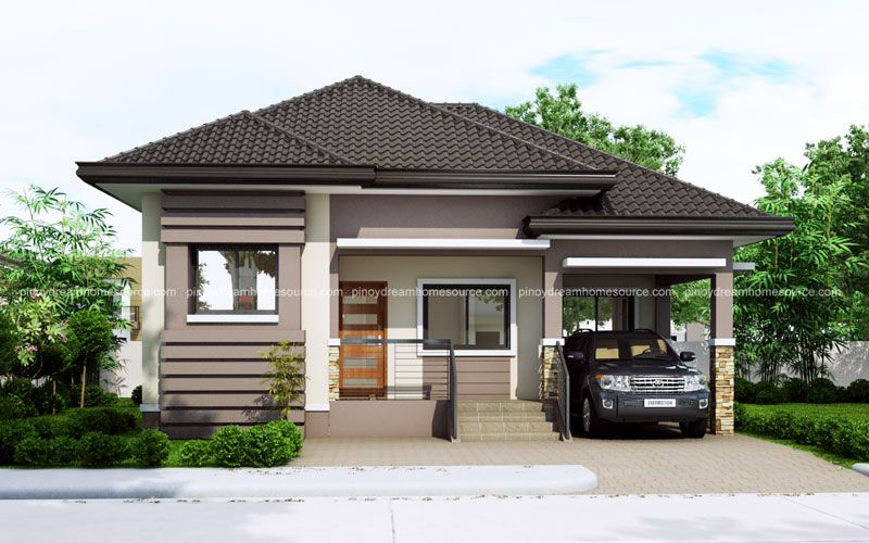 One Story Small Home Plan With One Car Garage - Pinoy in Small One Level Farmhouse Plans