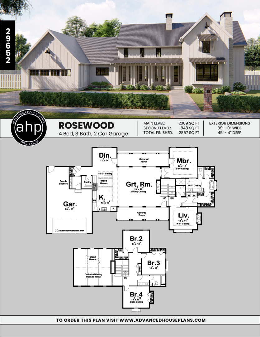 Rosewood 1.5 Story Modern Farmhouse House Plan In 2020 throughout White Modern Farmhouse Plans Single Story