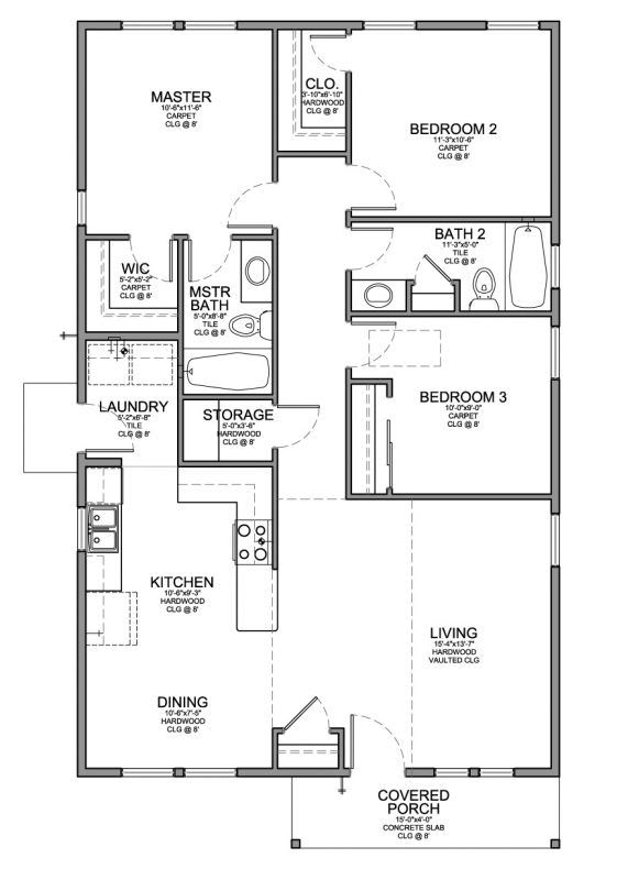 Floor Plan For A Small House 1,150 Sf With 3 Bedrooms And within Small One Level Farmhouse Plans