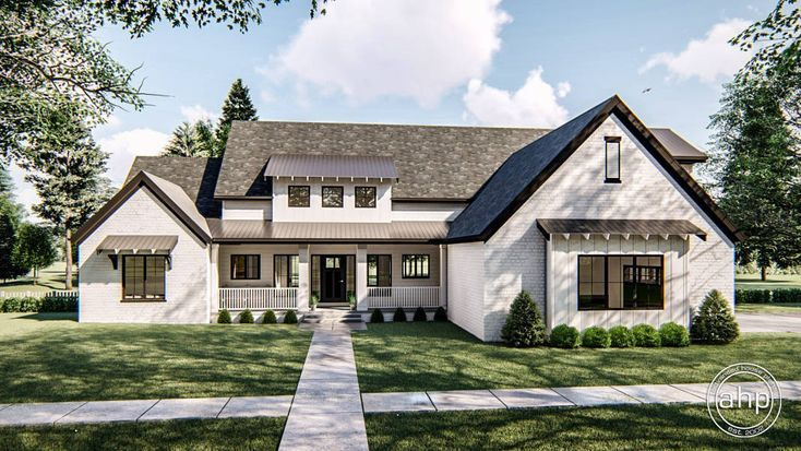 This 1.5-Story Plan Defines Modern Farmhouse Style With within White Modern Farmhouse Plans Single Story
