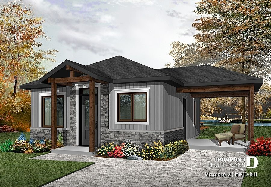 House Plan 2 Bedrooms, 1 Bathrooms, 1910-Bh1 | Drummond with regard to Small One Level Farmhouse Plans