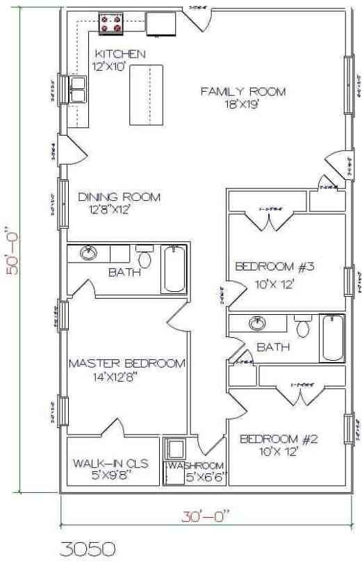 6 Pleasantly Simple Barndominium Plans With 30' Width Plan intended for Barndominium Pictures And Floor Plans