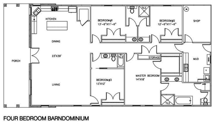 Barndominium Floor Plans With Shop 4 Bedroom Design Ideas with Barndominium Floor Plans 5 Bedroom